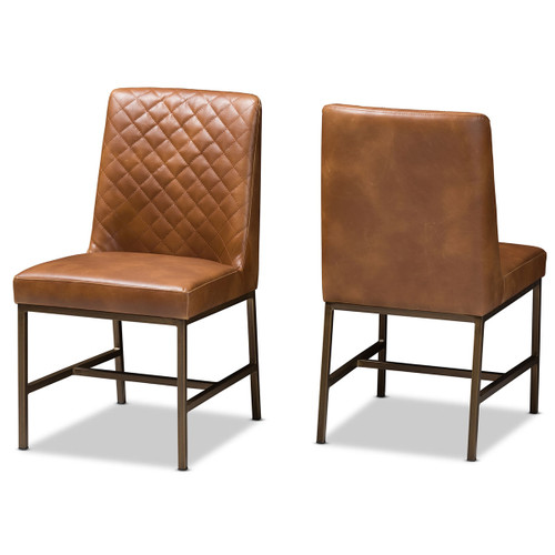 Baxton Studio Margaux Modern Luxe Light Brown Faux Leather Upholstered Dining Chair (Set of 2)