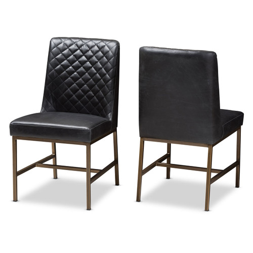 Baxton Studio Margaux Modern Luxe Black Faux Leather Upholstered Dining Chair (Set of 2)