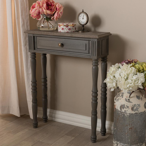 Baxton Studio Noemie Country Cottage Farmhouse Brown Finished 1-Drawer Console Table