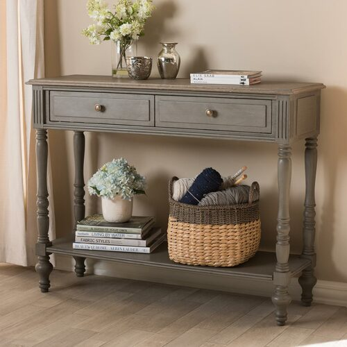 Baxton Studio Noemie Country Cottage Farmhouse Brown Finished 2-Drawer Console Table