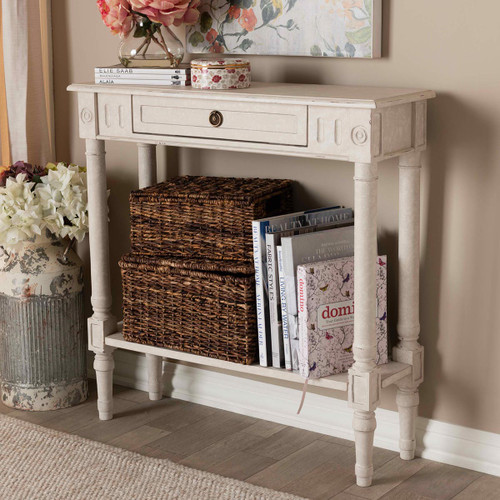 Baxton Studio Ariella Country Cottage Farmhouse Whitewashed 1-Drawer Console Table