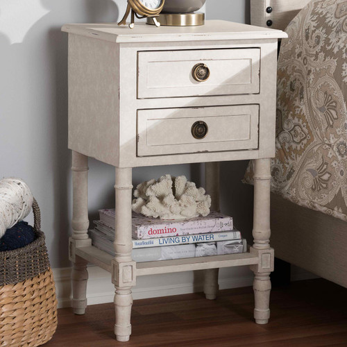 Baxton Studio Lenore Country Cottage Farmhouse Whitewashed 2-Drawer Nightstand