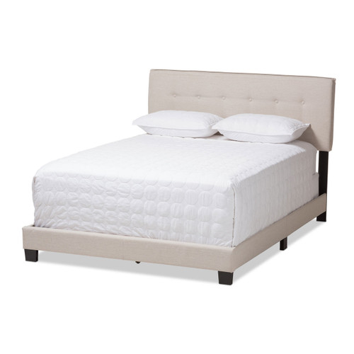 Baxton Studio Audrey Modern and Contemporary Light Beige Fabric Upholstered King Size Bed