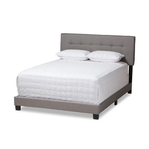 Baxton Studio Audrey Modern and Contemporary Light Grey Fabric Upholstered Full Size Bed