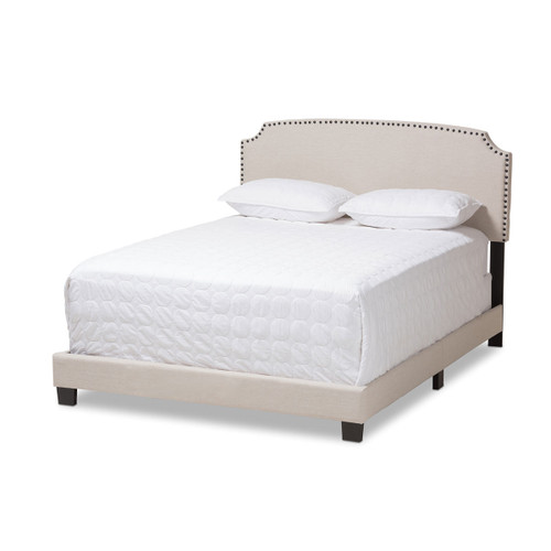 Baxton Studio Odette Modern and Contemporary Light Beige Fabric Upholstered Full Size Bed