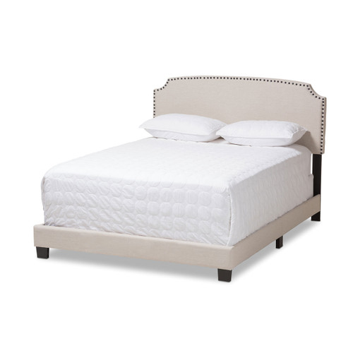Baxton Studio Odette Modern and Contemporary Light Beige Fabric Upholstered Queen Size Bed