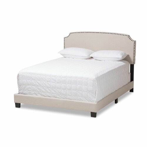 Baxton Studio Odette Modern and Contemporary Light Beige Fabric Upholstered King Size Bed