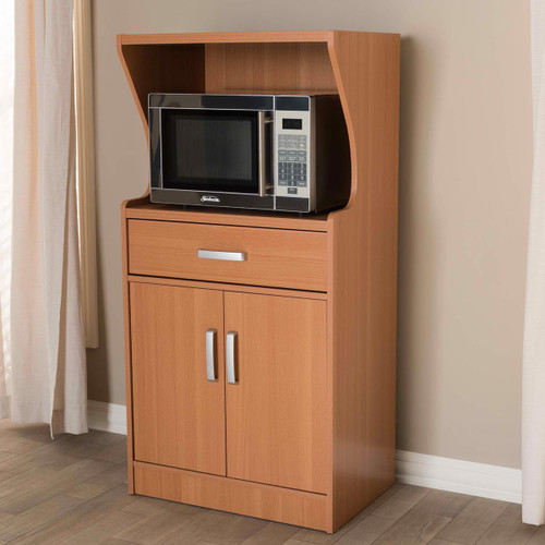 Baxton Studio Lowell Modern and Contemporary Brown Wood Finish Kitchen Cabinet