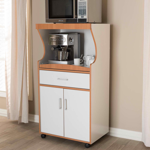 Baxton Studio Edonia Modern and Contemporary Beech Brown and White Finish Kitchen Cabinet