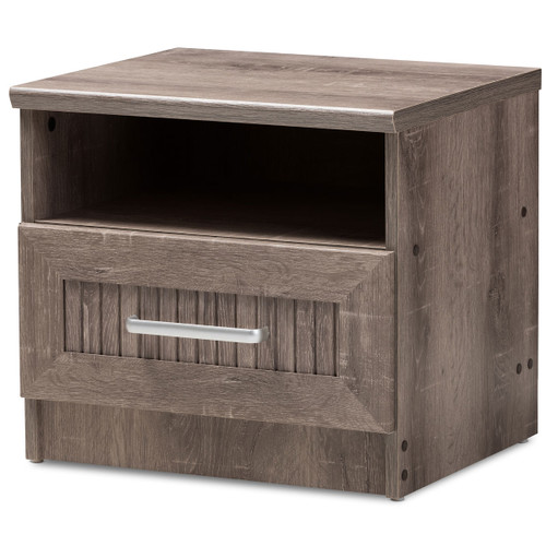 Baxton Studio Gallia Modern and Contemporary Oak Brown Finished 1-Drawer Nightstand