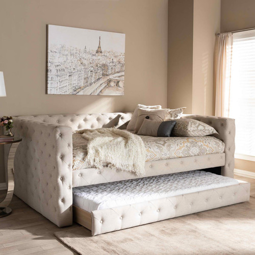 Baxton Studio Anabella Modern and Contemporary Light Beige Fabric Upholstered Queen Size Daybed with Trundle
