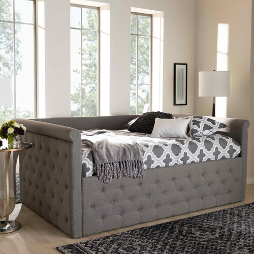 Baxton Studio Amaya Modern and Contemporary Grey Fabric Upholstered Full Size Daybed