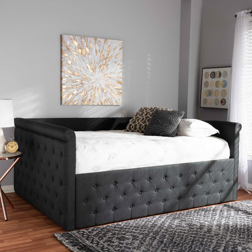 Baxton Studio Amaya Modern and Contemporary Dark Grey Fabric Upholstered Queen Size Daybed
