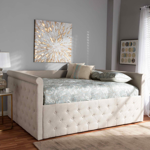 Baxton Studio Amaya Modern and Contemporary Light Beige Fabric Upholstered Queen Size Daybed