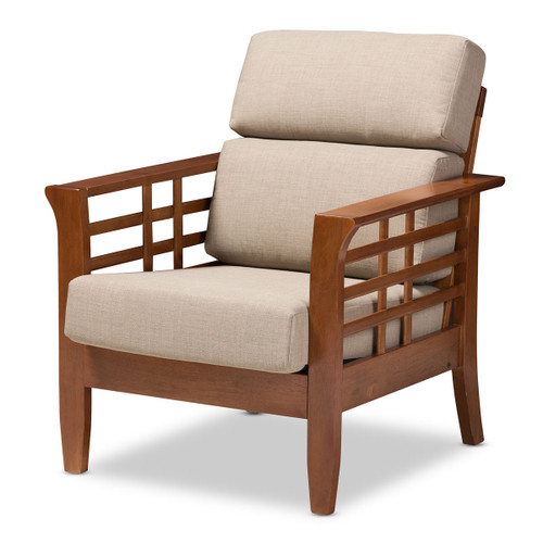 Baxton Studio Larissa Modern Classic Mission Style Cherry Finished Brown Wood and Dark Beige Fabric High Back Cushioned Living Room 1-Seater Lounge Chair