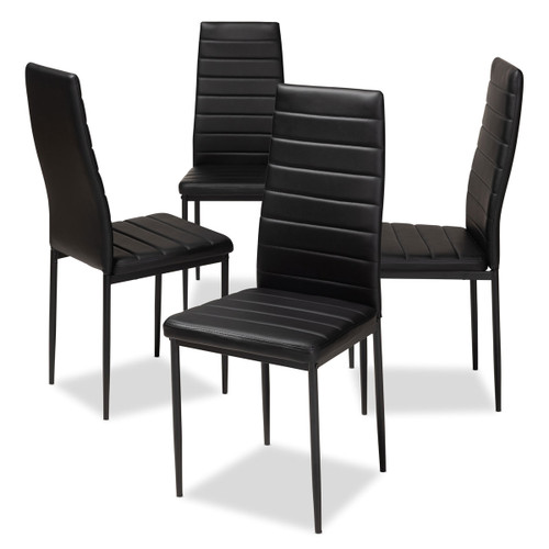 Baxton Studio Armand Modern and Contemporary Black Faux Leather Upholstered Dining Chair (Set of 4)