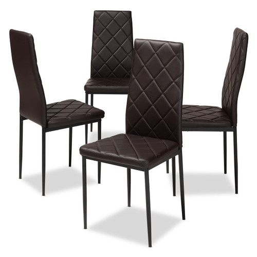 Baxton Studio Blaise Modern and Contemporary Brown Faux Leather Upholstered Dining Chair (Set of 4)