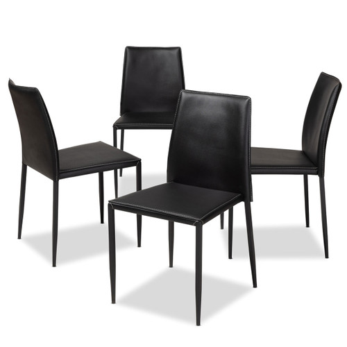 Baxton Studio Pascha Modern and Contemporary Black Faux Leather Upholstered Dining Chair (Set of 4)