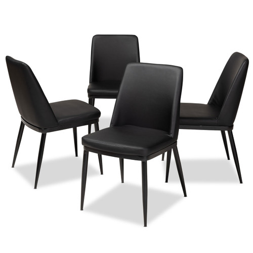 Baxton Studio Darcell Modern and Contemporary Black Faux Leather Upholstered Dining Chair (Set of 4)