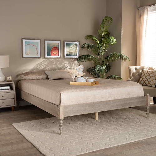 Baxton Studio Cielle French Bohemian Antique White Oak Finished Wood Queen Size Platform Bed Frame
