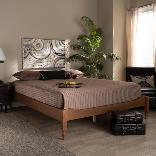 Baxton Studio Laure French Bohemian Ash Walnut Finished Wood Queen Size Platform Bed Frame
