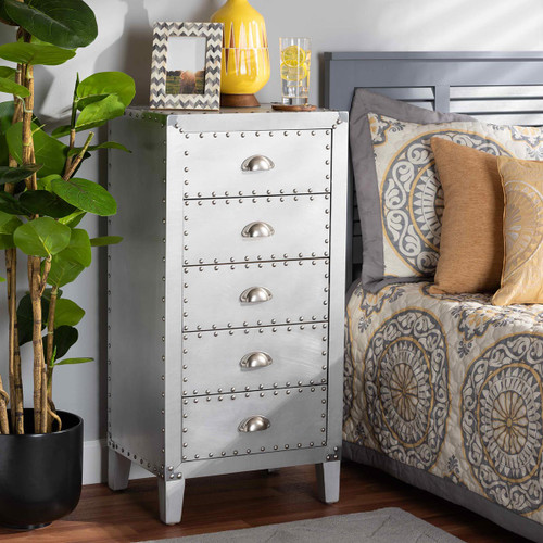 Baxton Studio Carel French Industrial Silver Metal 5-Drawer Accent Storage Cabinet