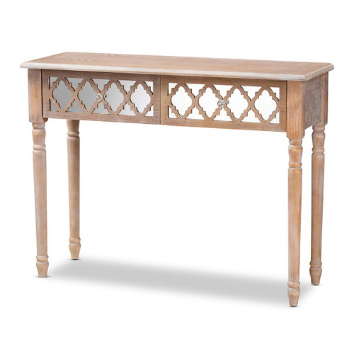 Baxton Studio Celia Transitional Rustic French Country White-Washed Wood and Mirror 2-Drawer Quatrefoil Console Table