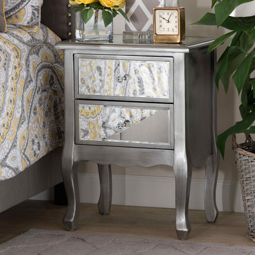 Baxton Studio Leonie Modern Transitional French Brushed Silver Finished Wood and Mirrored Glass 2-Drawer Nightstand