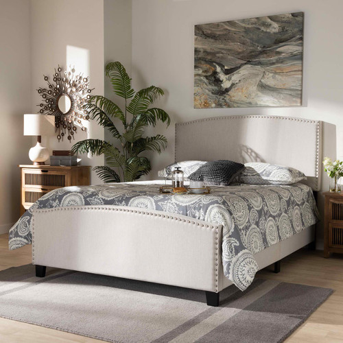 Baxton Studio Morgan Modern Transitional Beige Fabric Upholstered King Size Panel Bed