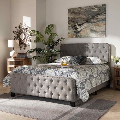 Baxton Studio Annalisa Modern Transitional Grey Fabric Upholstered Button Tufted Queen Size Panel Bed