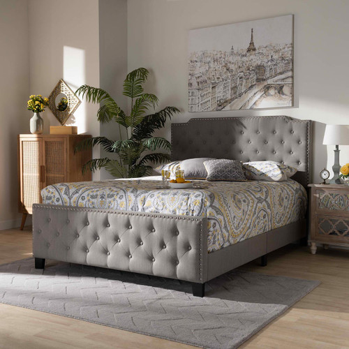 Baxton Studio Marion Modern Transitional Grey Fabric Upholstered Button Tufted Queen Size Panel Bed