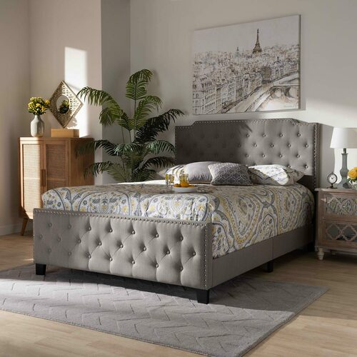 Baxton Studio Marion Modern Transitional Grey Fabric Upholstered Button Tufted King Size Panel Bed