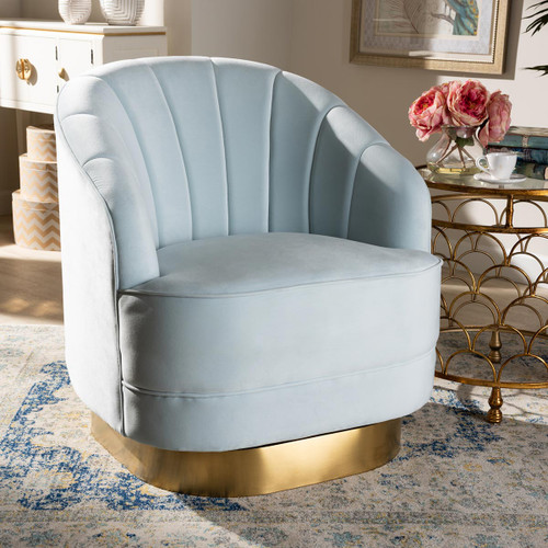 Baxton Studio Fiore Glam and Luxe Light Blue Velvet Fabric Upholstered Brushed Gold Finished Swivel Accent Chair