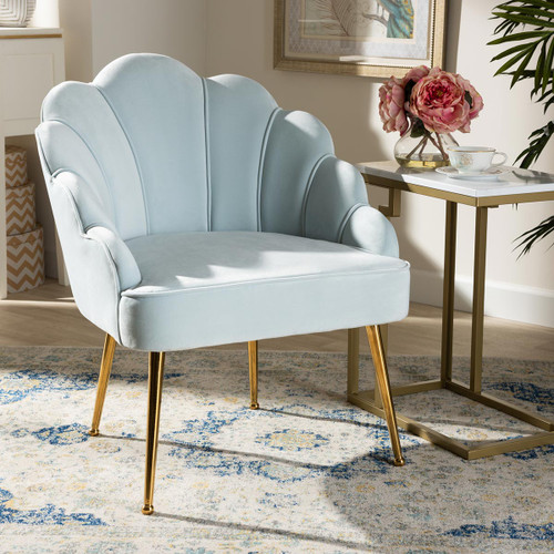 Baxton Studio Cinzia Glam and Luxe Light Blue Velvet Fabric Upholstered Gold Finished Seashell Shaped Accent Chair