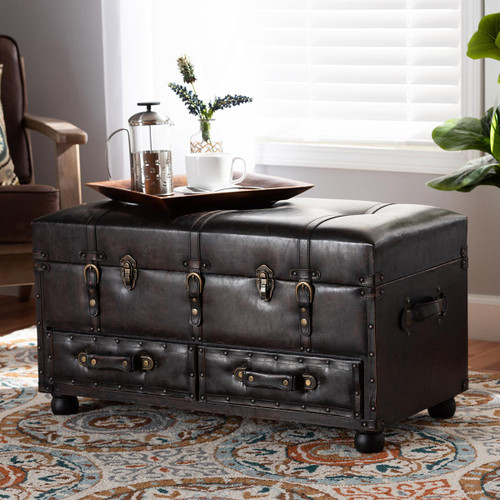 Baxton Studio Callum Modern Transitional Distressed  Brown Faux Leather Upholstered 2-Drawer Storage Trunk Ottoman