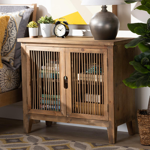 Baxton Studio Clement Rustic Transitional Medium Oak Finished 2-Door Wood Spindle Accent Storage Cabinet