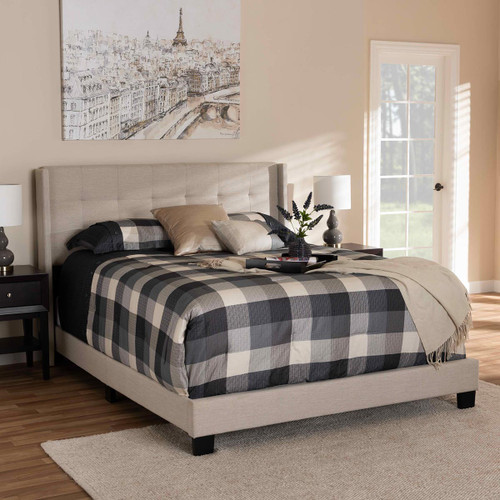 Baxton Studio Lisette Modern and Contemporary Beige Fabric Upholstered Queen Size Bed
