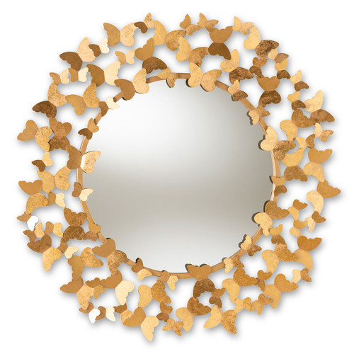 Baxton Studio Soleil Modern and Contemporary Antique Gold Finished Butterfly Accent Wall Mirror