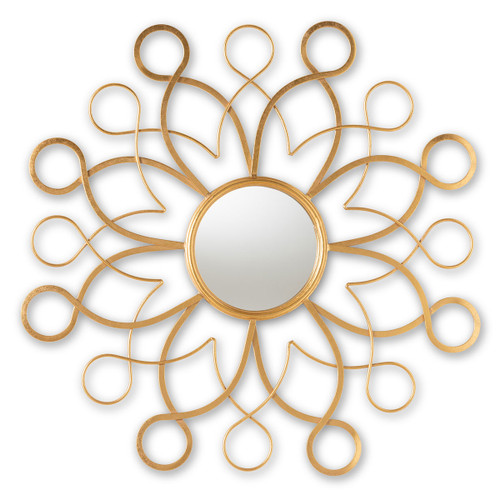 Baxton Studio Cymbeline Modern and Contemporary Antique Gold Finished Round Accent Wall Mirror