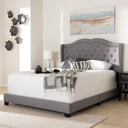 Baxton Studio Aden Modern and Contemporary Grey Fabric Upholstered Full Size Bed