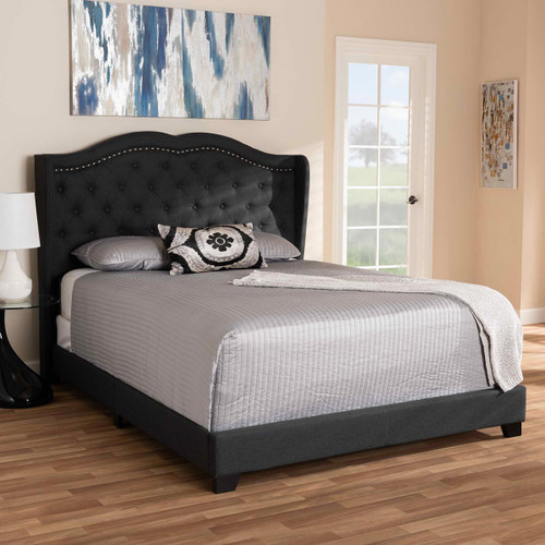 Baxton Studio Aden Modern and Contemporary Charcoal Grey Fabric Upholstered Full Size Bed