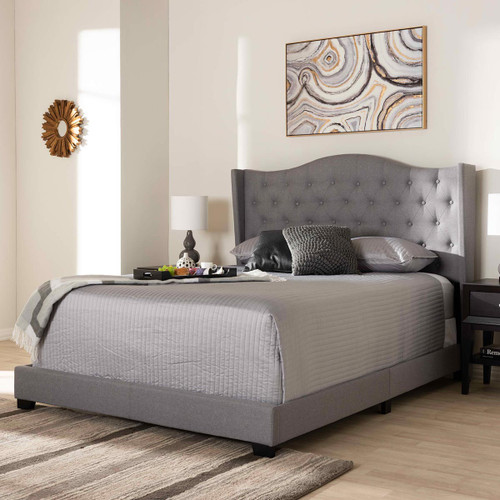 Baxton Studio Alesha Modern and Contemporary Grey Fabric Upholstered Full Size Bed