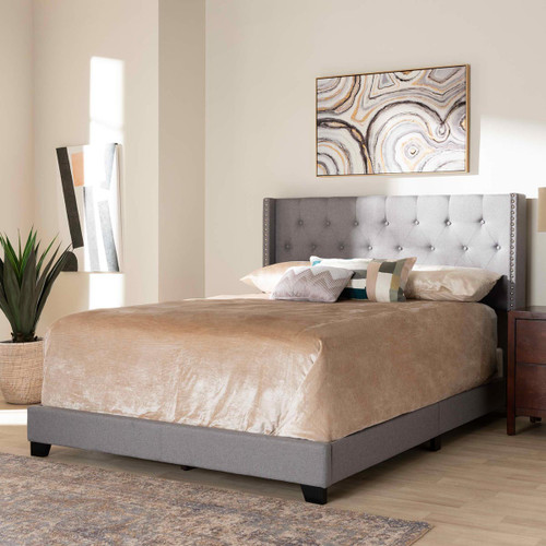 Baxton Studio Brady Modern and Contemporary Light Grey Fabric Upholstered Queen Size Bed