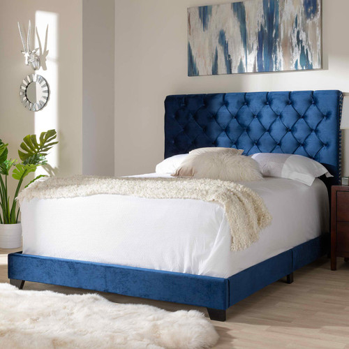 Baxton Studio Candace Luxe and Glamour Navy Velvet Upholstered Queen Size Bed