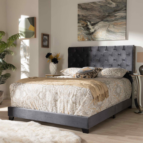 Baxton Studio Candace Luxe and Glamour Dark Grey Velvet Upholstered Full Size Bed