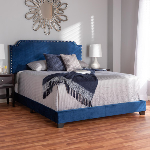 Baxton Studio Darcy Luxe and Glamour Navy Velvet Upholstered Full Size Bed