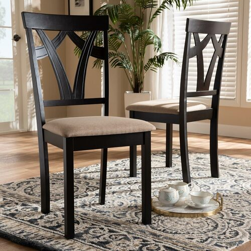 Baxton Studio Sylvia Modern and Contemporary Sand Fabric Upholstered and Espresso Brown Finished Dining Chair Set of 2