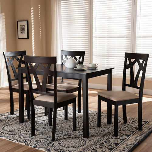 Baxton Studio Sylvia Modern and Contemporary Espresso Brown Finished and Sand Fabric Upholstered 5-Piece Dining Set