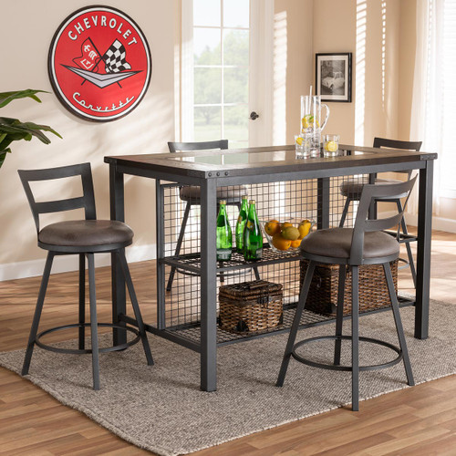 Baxton Studio Arjean Rustic and Industrial Grey Fabric Upholstered 5-Piece Pub Set