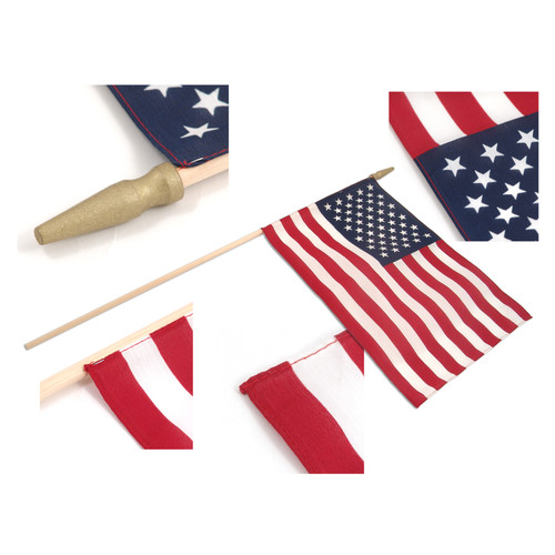 "Super Tough US Stick Flag 12""x18"" 30"" x 3/8"" Sewn Edges -US Made"